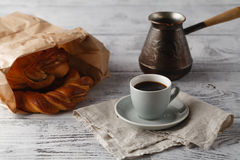 Fresh pastry and cup of coffee Stock Photos