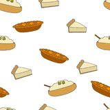 Fresh Pastry Flat Vector Seamless Pattern on White. Fresh pastry seamless pattern. Baked apple pie, piece of cake and pudding with herbs flat vector on white Stock Image