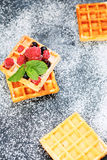 Fresh pastry waffles with berries Stock Images