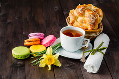 Fresh pastry with yellow spring flower Stock Images