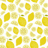 Fresh pattern with lemons, full fruits and slices. Vitamin background, seamless vector texture Royalty Free Stock Photo
