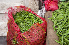 Fresh pea pods in asian market , India Stock Photography