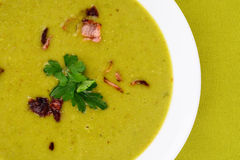 Fresh pea soup. Royalty Free Stock Photography