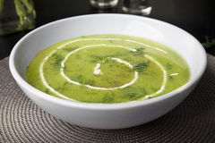Fresh Pea Soup with Dill Royalty Free Stock Photo