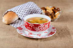 Fresh pea soup with meat white bowl over rustic background Royalty Free Stock Images