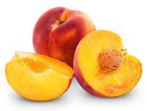 Fresh peach. Fruits and half. Isolated on white background stock image