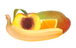 Fresh peach; banana, orange and mango fruits isolated on white Stock Photography