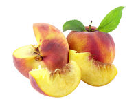 Fresh peach with cut. Isolated with clipping path included stock photography