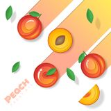 Fresh peach fruit background in paper art style. Vector , illustration Stock Photo