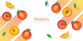 Fresh peach fruit background in paper art style. Vector , illustration Royalty Free Stock Image