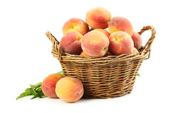 Fresh peach fruit. In basket isolated on a white royalty free stock image