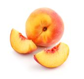 Fresh peach fruits with cut. Isolated on white background royalty free stock photo
