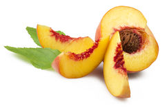 Fresh peach fruits Stock Photos