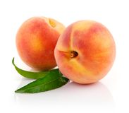 Fresh peach fruits with green leaves stock photos
