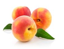 Fresh peach fruits with green leaves Royalty Free Stock Photography