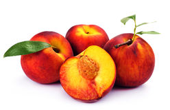 Fresh peach with green leaf isolated Royalty Free Stock Photography