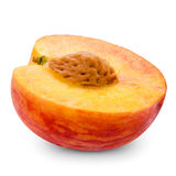 Fresh peach half royalty free stock photo