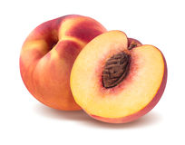 Fresh peach and half isolated on white background. As package design element Royalty Free Stock Photography
