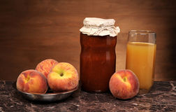 Fresh peach jam and juice Stock Image