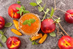 Fresh peach jam. Top view Royalty Free Stock Image