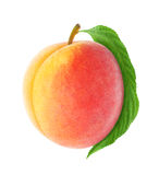 Fresh peach. With leaf isolated on white royalty free stock photos