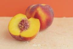 Fresh peach. Fresh organic ripe peaches, selective focus Stock Image