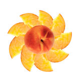 Fresh peache slices isolated on white Royalty Free Stock Photos