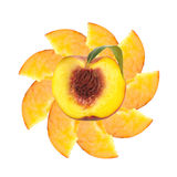 Fresh peache slices isolated on white Stock Photos