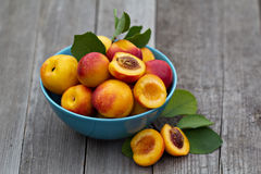 Fresh peaches in blue bowl. On wooden table Stock Photo