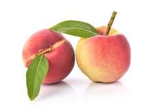 Fresh peaches fruit on white background. Royalty Free Stock Photos