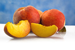 Fresh peaches fruits Stock Photos