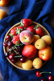 Fresh peaches and fruits closeup Royalty Free Stock Photo