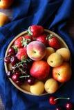 Fresh peaches and fruits closeup Royalty Free Stock Photo
