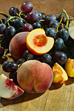 Fresh peaches and grapes Royalty Free Stock Image