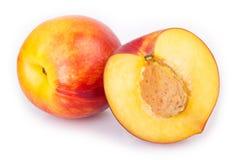 Fresh peaches on white background stock photos