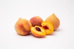Fresh peaches isolated on white. Background juicy ripe Royalty Free Stock Image
