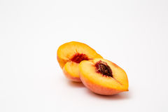 Fresh peaches isolated on white. Background juicy ripe Stock Image