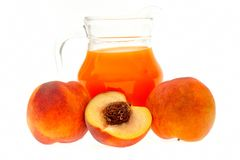 Fresh peaches and juice Royalty Free Stock Photos