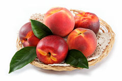 Fresh peaches and nectarines in a basket. Royalty Free Stock Image