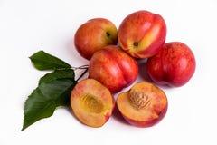 Fresh peaches, nectarines isolated on a white background stock image