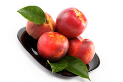 Fresh peaches and nectarines on a plate. Stock Image