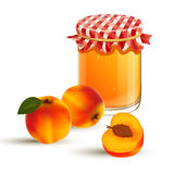 Fresh peaches and peach jam Royalty Free Stock Images