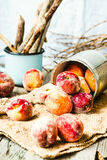 Fresh peaches in a tin, selective focus,healthy raw food Royalty Free Stock Images