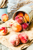 Fresh peaches in a tin, selective focus,healthy raw food Stock Photo