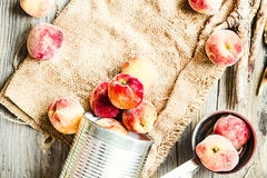 Fresh peaches in a tin, space for text,healthy raw food Royalty Free Stock Photos