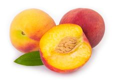 Fresh peaches on white background royalty free stock images