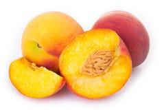Fresh peaches on white background stock photo