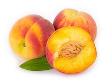 Fresh peaches on white background royalty free stock photo