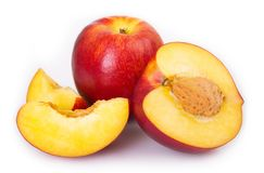 Fresh peaches on white background royalty free stock photos
