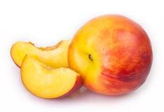 Fresh peaches on white background royalty free stock photography